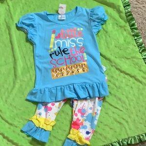 NWOT Kids Little Miss Rule the School Outfit
